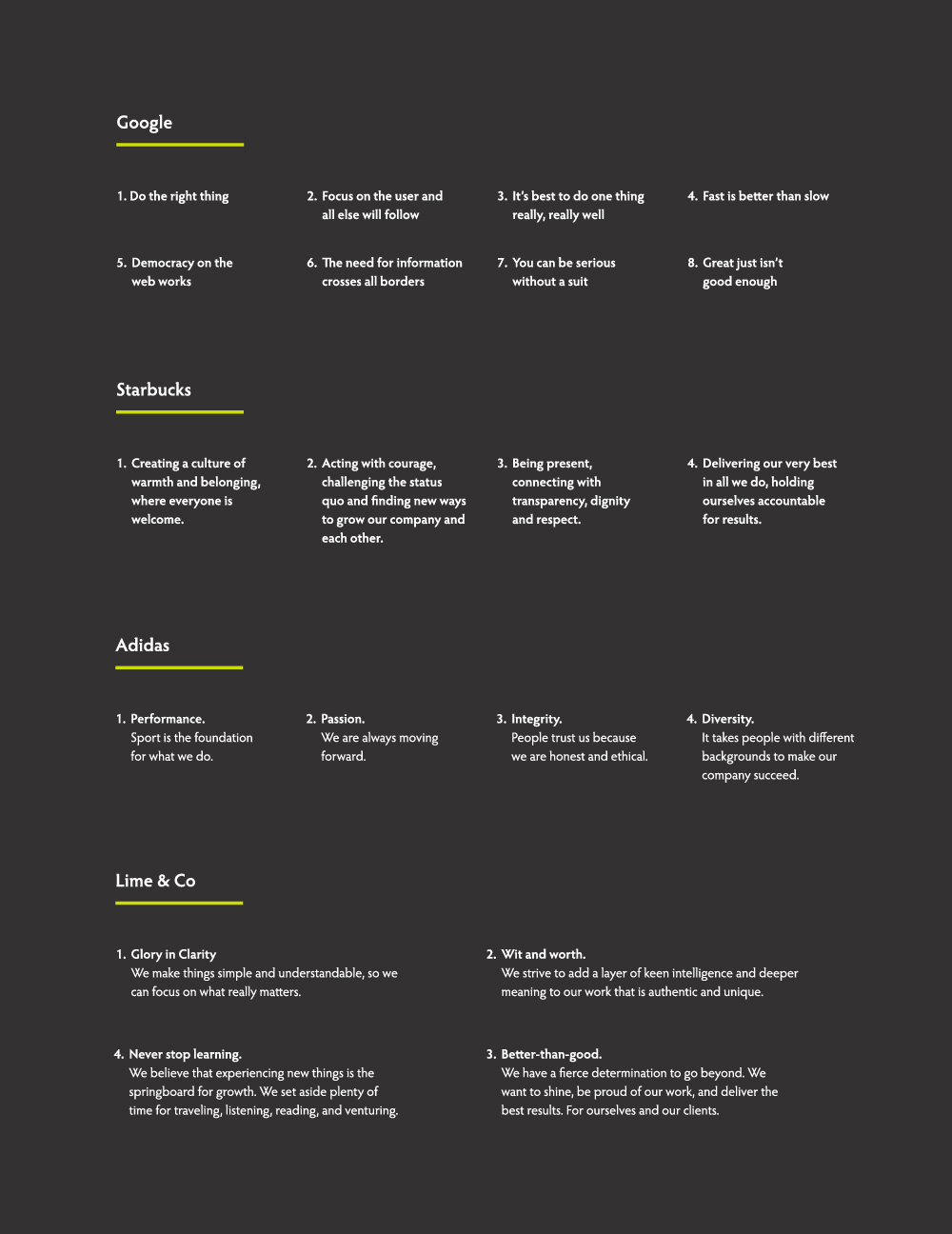 Brand Values samples by Google, Starbucks, Adidas, Lime&Co