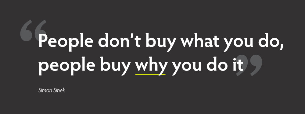 quote: People don't buy what you do, people buy why you do it. by Simon Sinek