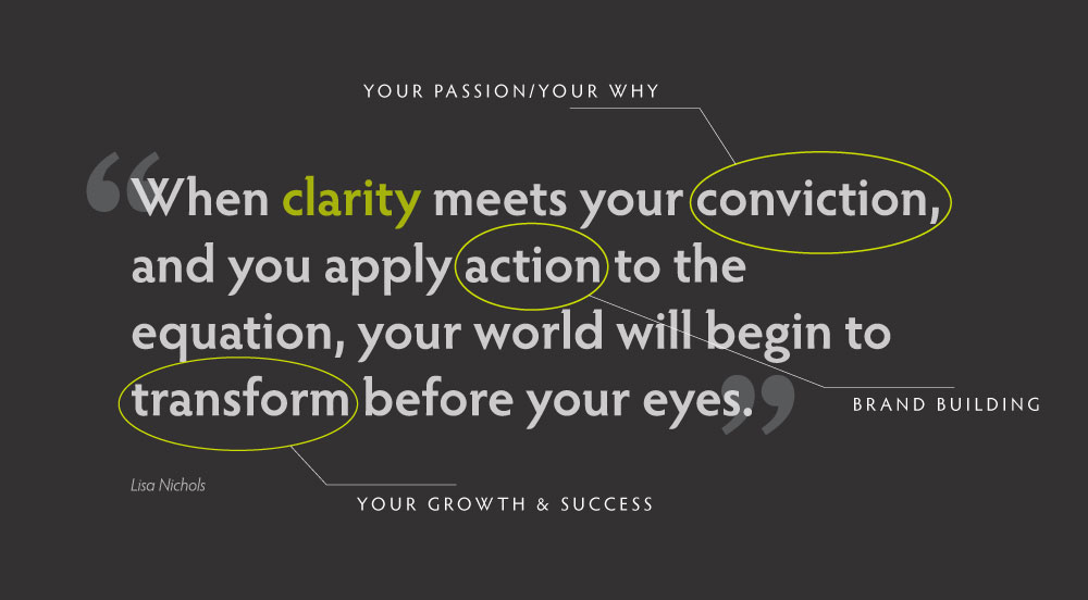 Quote: When clarity meets your conviction, and you apply action to the equation, your world will begin to transform before your eyes. by Lisa Nichols