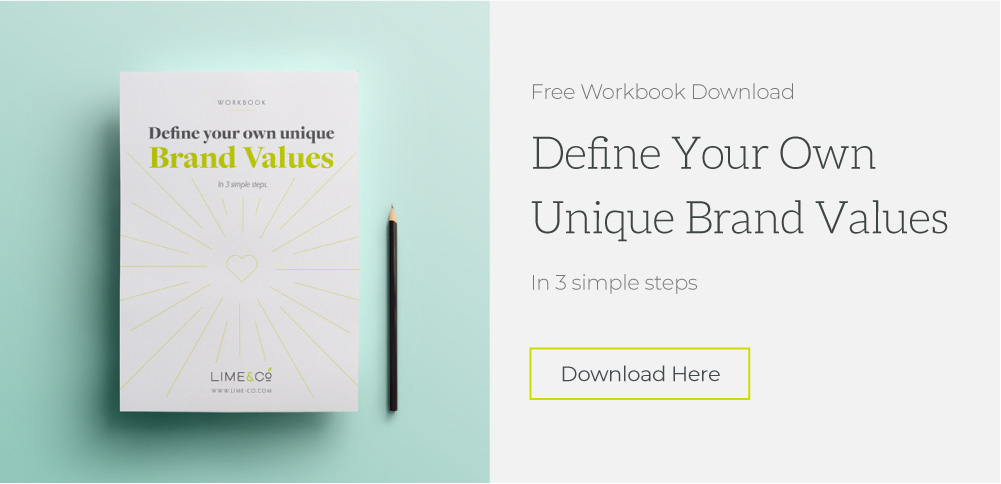 showing a piece of paper and pencil. Heasder saying Define your Own Unique Brand Values in 3 simple steps. Download here button